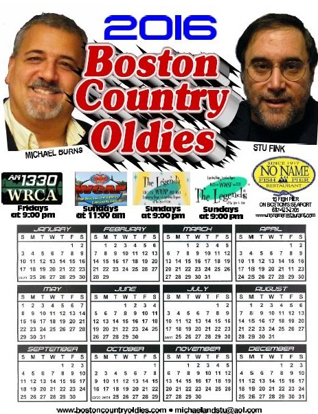 The 2016 Boston Country Oldies Calendar