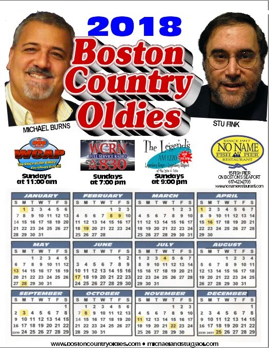 The Boston Country Oldies Calendar for 2018.